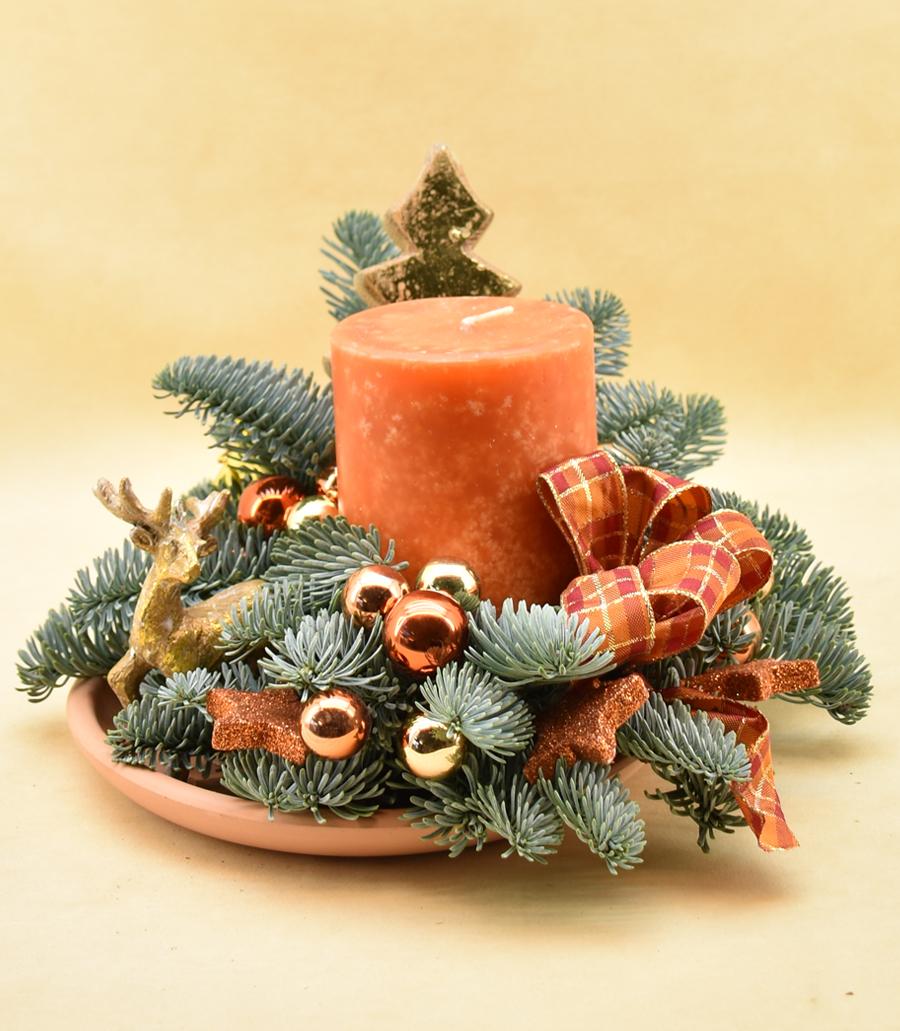 Adventsgesteck, orange, Nr. 35